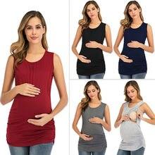 Novo estilo popular cor sólida colete amamentação camisa gravidez e enfermagem superior para mulheres manterity roupas