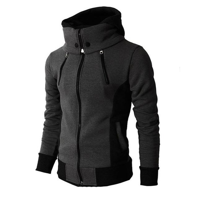 Zipper Autumn Winter Casual Fleece Coats Bomber Jacket Scarf Collar Fashion Hooded Male Outwear Slim Fit Hoody 2