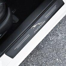 4 pçs estilo do carro 3d limiar de fibra carbono adesivo para jaguar xel F-TYPE xfl F-PACE E-PACE I-PACE xf