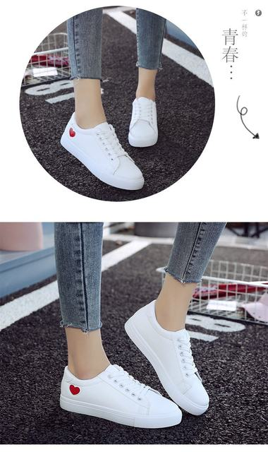 2019 Autumn Woman Shoes Fashion New Woman PU Leather Shoes Ladies Breathable Cute Heart Flats Casual Shoes White Sneakers 16
