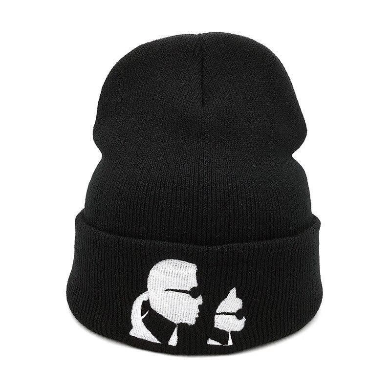 Designer Karl Beanies Cartoon Karl Lagerfeld Embroidery Knitted Hat Skiing Skullies Bonnet Cap For Women Men