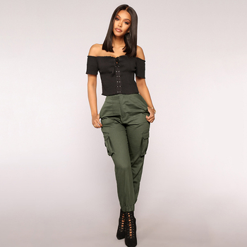 Autumn Cargo Trousers With Pockets Women Ankle-Length Casual Pant Female Mid Elastic Waist Solid Color Pants Streetwear Pantalon