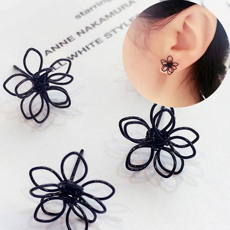 1Pair Elegant Charming Small Gold Ball Black Plum Flower Double Sides Stud Earring Prom Wedding Pressent