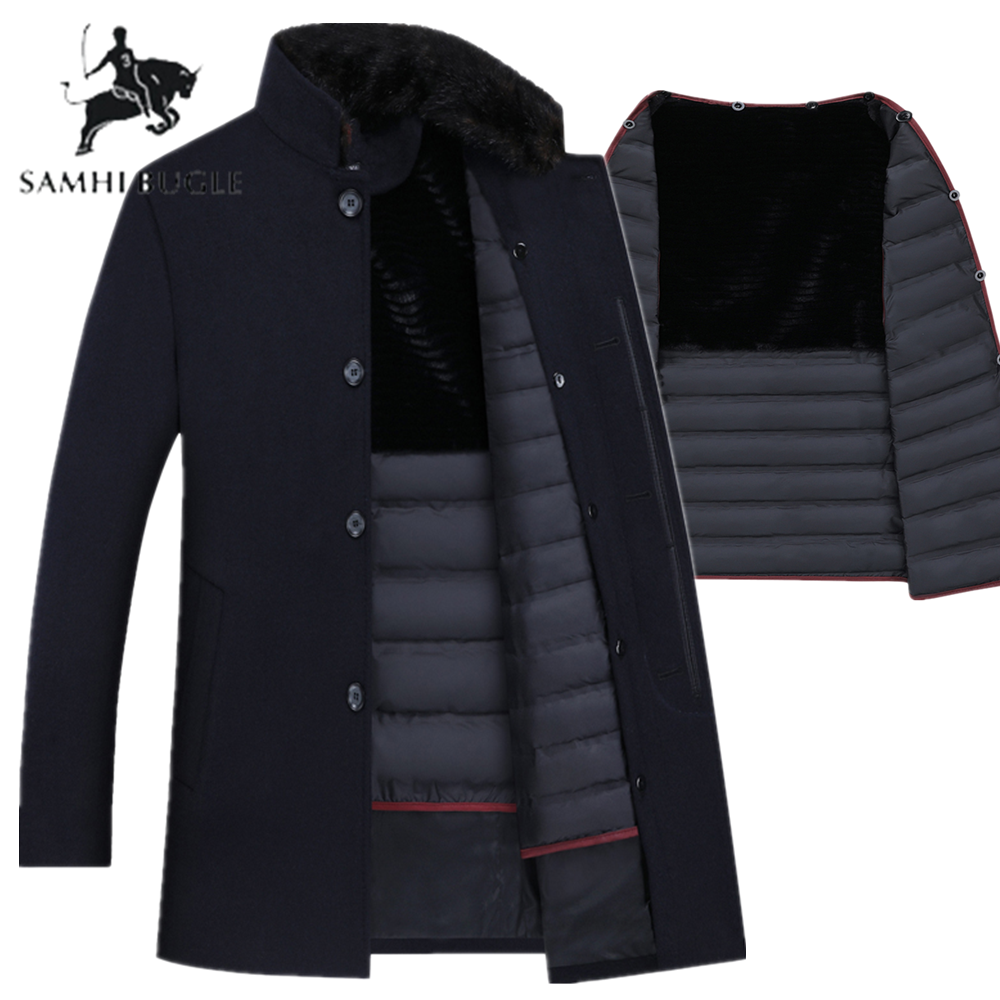 Trench Coat Men Wool Thick Overcoats 90% White Duck Down Mens Single Breasted Coats And Jackets With Adjustable Vest Men's Coat