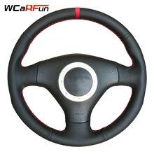 WCaRFun Marcador Vermelho De Couro Preto Cobertura de Volante para Audi A2 8Z A3 8L Sportback A4 B6 Avant A6 C5 A8 D2 TT 8N S3 S4 RS4 RS6