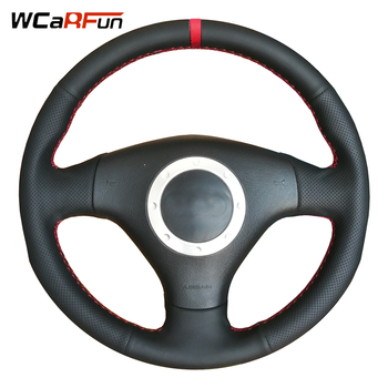 WCaRFun Black Leather Red Marker Steering Wheel Cover for Audi A2 8Z A3 8L Sportback A4 B6 Avant A6 C5 A8 D2 TT 8N S3 S4 RS4 RS6 фото