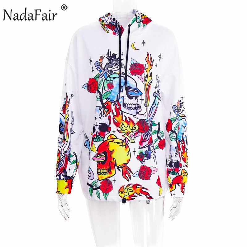 Nadafair Fashion Graffiti Hip Hop długie bluzy damskie Streetwear jesienno-zimowa Casual luźna bluza z kapturem Clubwear