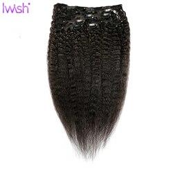 Кудрявые прямые человеческие волосы для наращивания на заколках 100% Монголия человеческие Волосы Remy 8 штук и карточка с 120 г/компл. яки прямые...