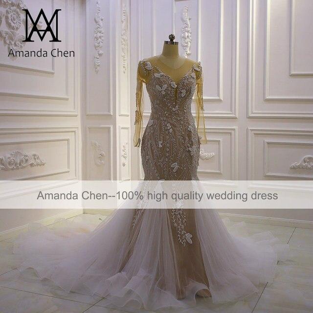 Top Quality Long Sleeves Flowers Champagne Mermaid Wedding Dress 2