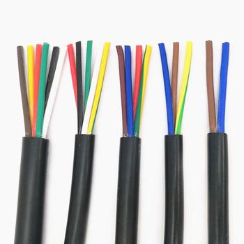 RVV czarny kabel 18AWG 0 75MM 2 rdzeń 3 rdzeń 4 rdzeń 5 core 6 rdzeń 7 core 8 core 10 rdzeń 12 rdzeń 16 rdzeń 20 sterowania przewód sygnałowy tanie i dobre opinie Diligent ant Rohs CN (pochodzenie) Miedziane RVV black cable ze skrętek Do położenia pod ziemią Izolowane