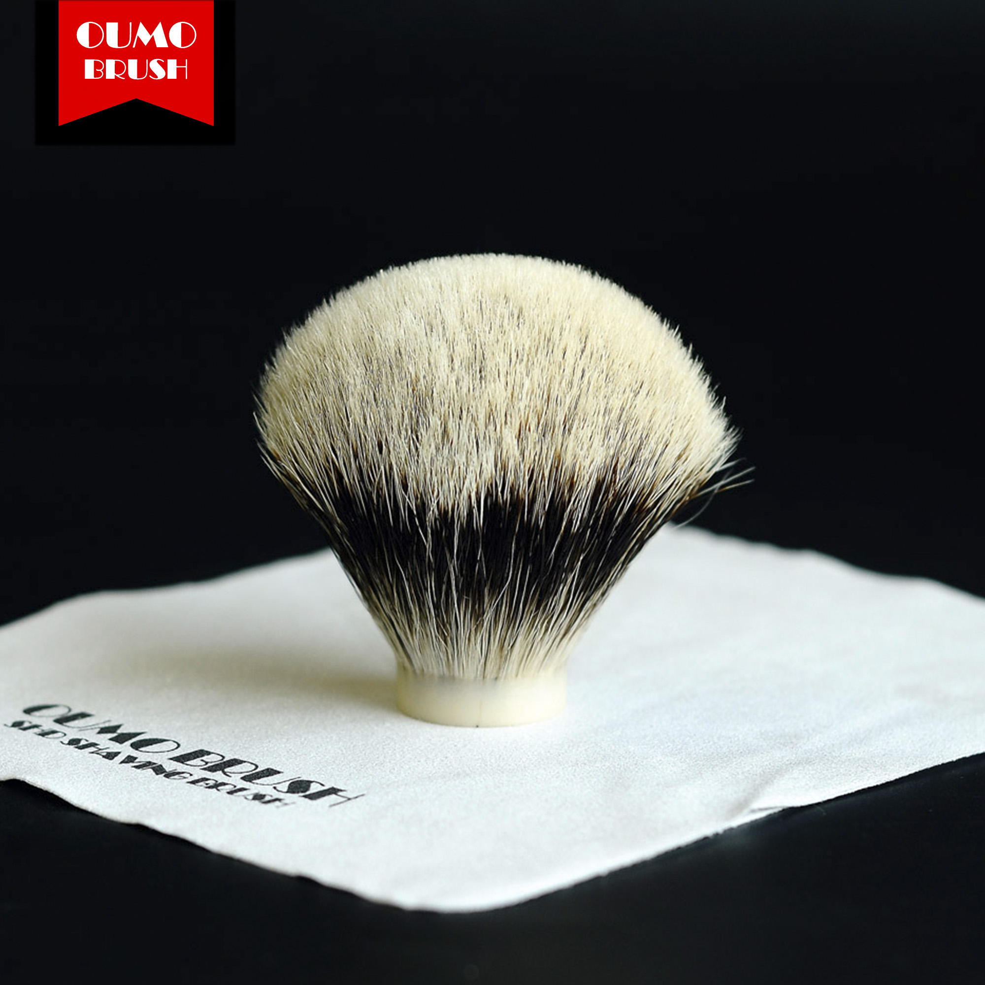 OUMO BRUSH-SHD WT(White Tip) Finest Two Band Fan Bulb Badger Hair Knots Gel Tip Shaving Brush Knots