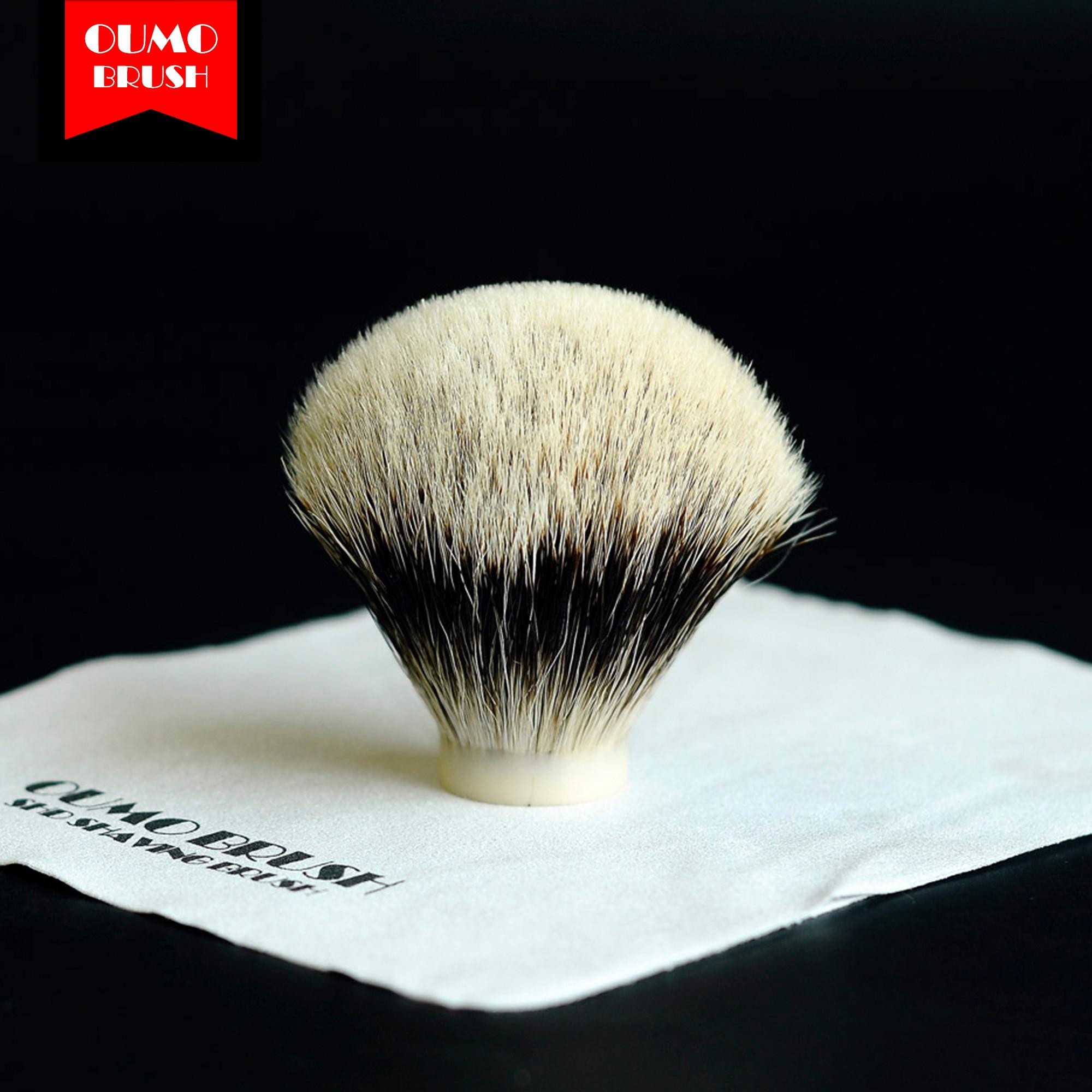 OUMO BRUSH-SHD WT(White Tip) Finest Two Band Fan Bulb Badger Hair Knots Gel Tip Shaving Brush Knots