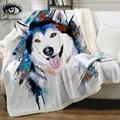 Husky by Pixie холодное искусство  покрывало из микрофибры  покрывало с животным принтом  акварельное покрывало для милых собак  покрывало 150x200 см