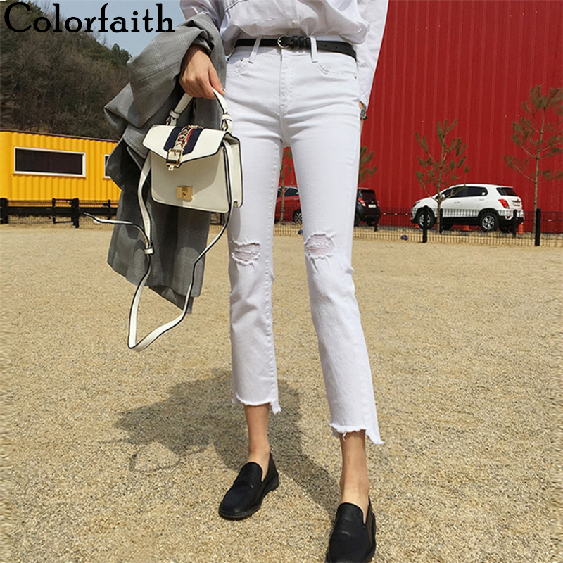 Colorfaith New 2020 Women Summer Autumn Jeans Casual High Waist Trousers Ripped Denim Fashionable White Ankle-Length Pants J3098