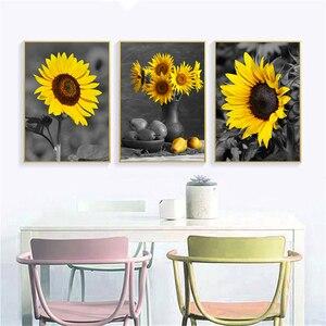 Pintura de parede de girassol, posteres pretos e brancos para decoração de sala de estar, tela hd, impressão vintage, decoração de casa e quadros
