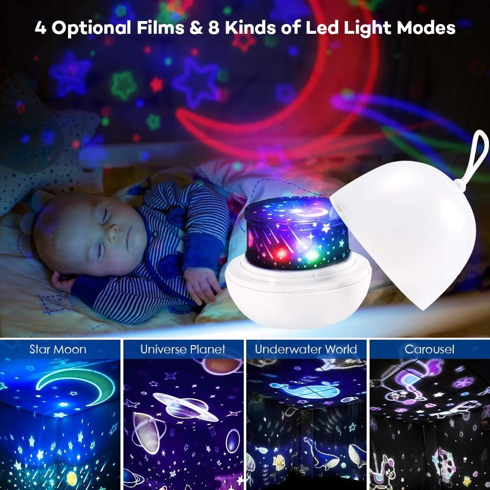 Night Light Projector Delicacy 4 Set Films 360° Rotating 8 Lighting Modes LED Night Lights Lamp for Kids Baby Bedroom Decoration 2