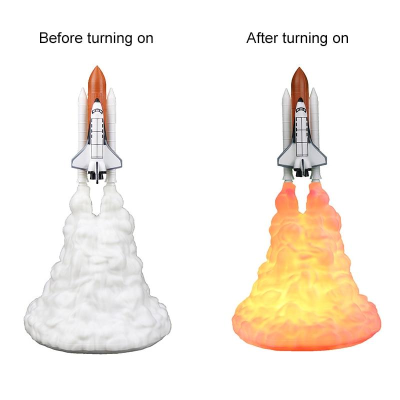 Nova forma de foguete 3d impressão lâmpada