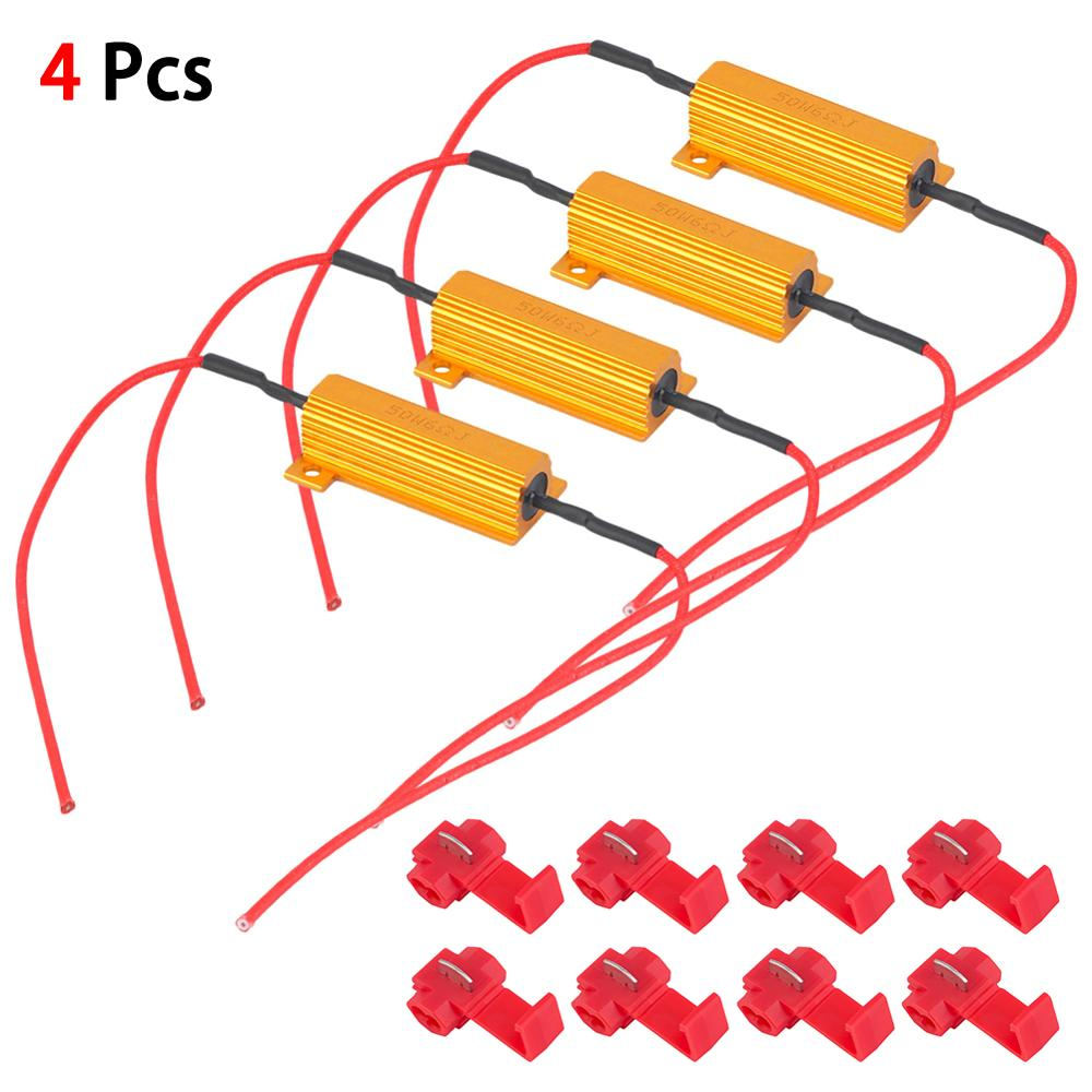 4PCS Canbus Load Resistor 50W 6Ω LEDTurn Signal Light Blink Flash Fix 12V Canceler Decoder Light Error Free Code Load Resistors