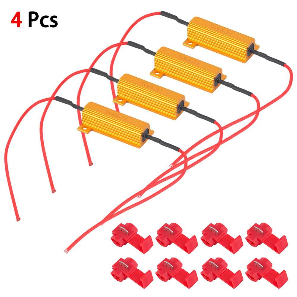 4PCS Canbus Load Resistor 50W 6Ω LEDTurn Signal Light Blink Flash Fix 12V Canceler Decoder Light Error Free Code Load Resistors