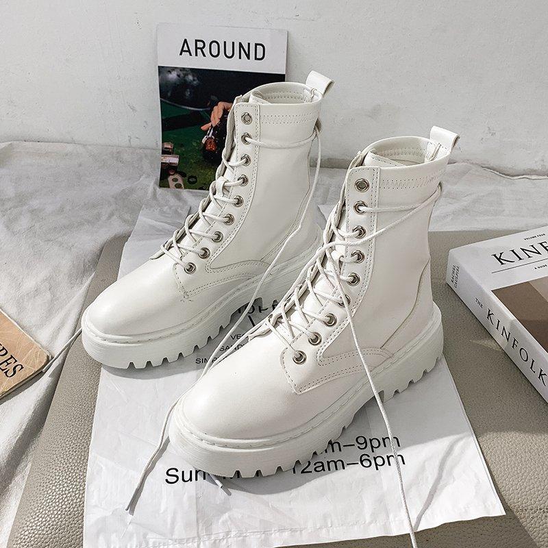 Bottes de Combat blanches en cuir pour femmes, chaussures de moto à talons mi-hauts, gothiques, à la mode, noires, collection 2020