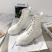2020 Combat Boots Women White Leather Motorcycle Boots Mid Heeled Gothic Shoes Fashion Black Ankle Boots