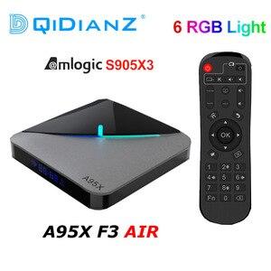 Image 1 - A95XF3 الهواء RGB ضوء صندوق التلفزيون أندرويد 9.0 Amlogic S905X3 صندوق 8K HD 2.4/5G واي فاي ميديا سيرفر تي في بوكس أندرويد A95X F3 الهواء pk X96AIR