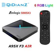 Caixa de tv amlogic a95xf3, caixa de tv com luz rgb, android 9.0, s905x3, 8k hd 2.4/5g, wi fi caixa de tv a95x f3 air pk x96air, caixa de servidor android
