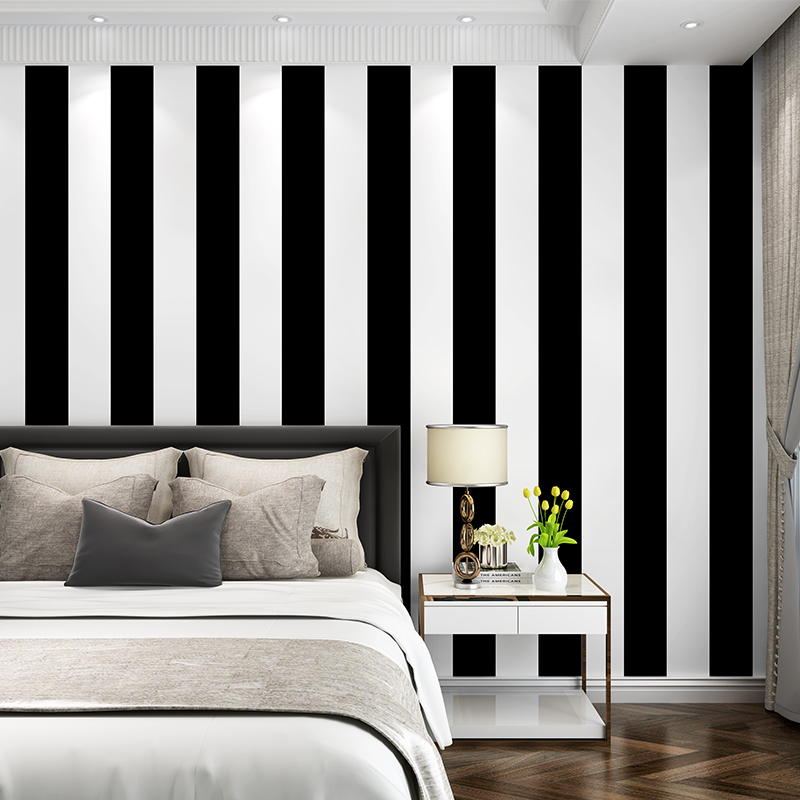 Classic Gray Black Waterproof PVC Wallpaper Roll Glossy White And Black Vertical Stripes Background Wall Paper Living Room