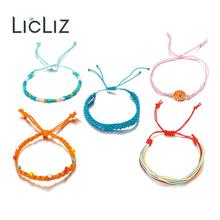 LicLiz Fashion 5 pcs Boho Rope Wrap Bracelet Set for Women Bohemia Handmade Weave Braided Friendship Pulseras LPB0497