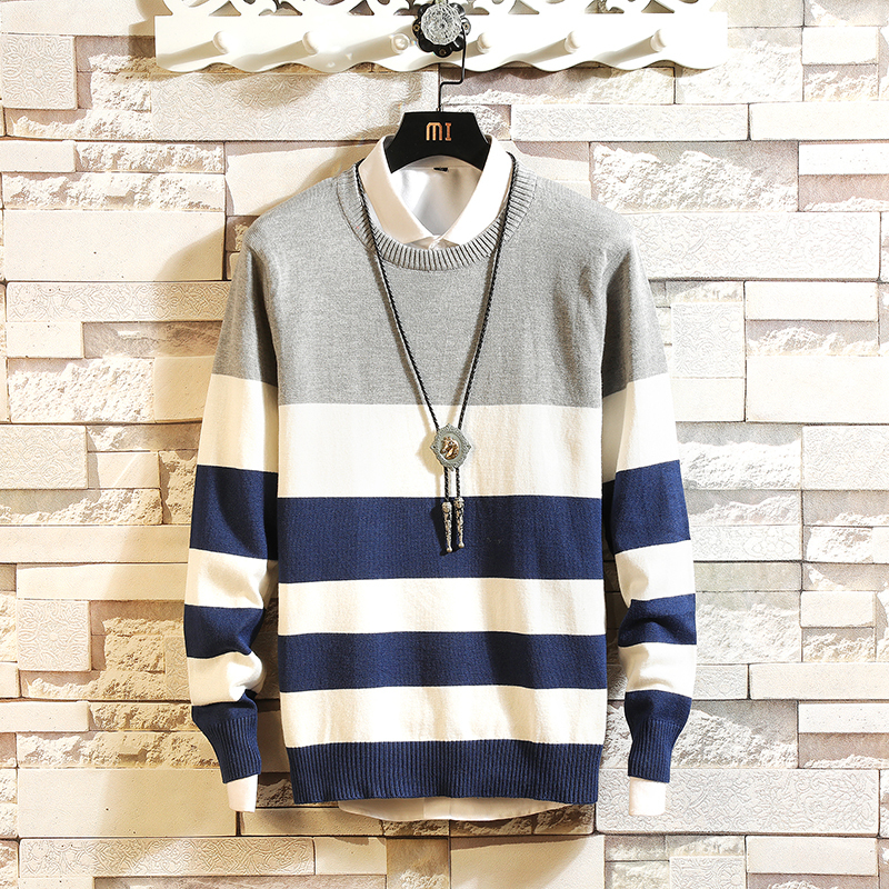 Autumn New Fashion Striped Color Round Neck Sweater, Trendy Men Korean Version Of The Slim Trend Youth Pullover Sweater
