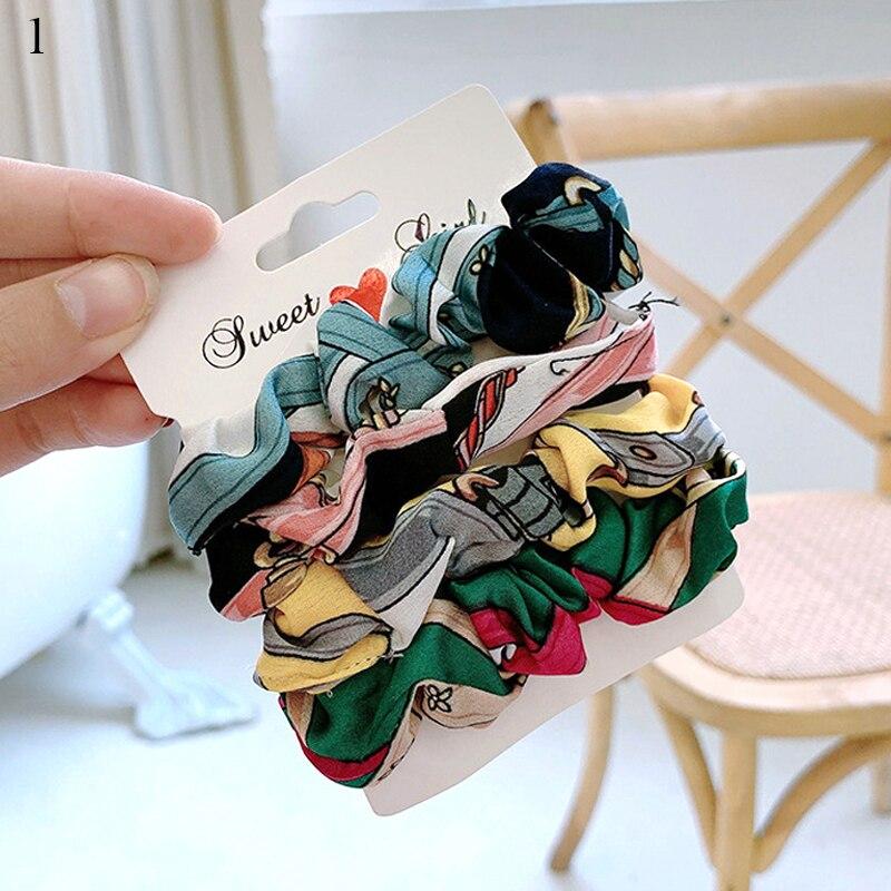 1 комплект резинки для волос кольцо для волос карамельного цвета Веревка для волос осень-зима женский хвостик аксессуары для волос 4-6 шт. ободки для девочек Подарки - Color: 0001