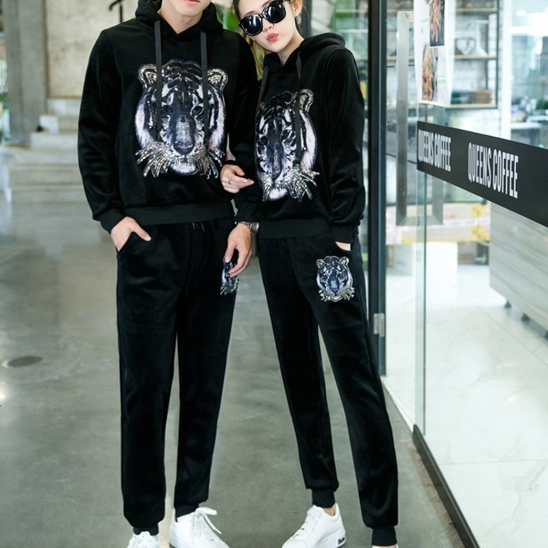 Couple Velvet Animal Printed Thick Casual Sport 3Pcs Outfits Long Sleeve Hooded Sweatshirt Stand Collar Vests Full Length Pants