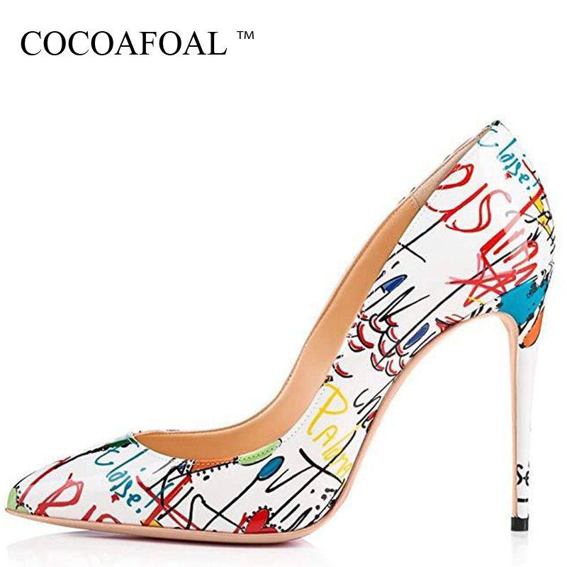 COCOAFOAL Women Graffiti High heels Shoes Stiletto Woman Wedding shoes Sexy Pumps Plus Size Deep White Valentines Shoes