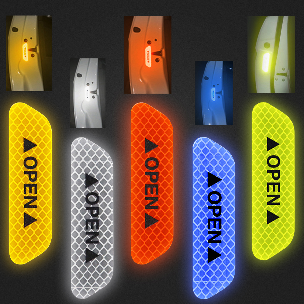 Hot 4Pcs Car Open Reflective Tape Reflective Strips Waterproof Car Warning Stickers Night Driving Safety Lighting Luminous Tapes
