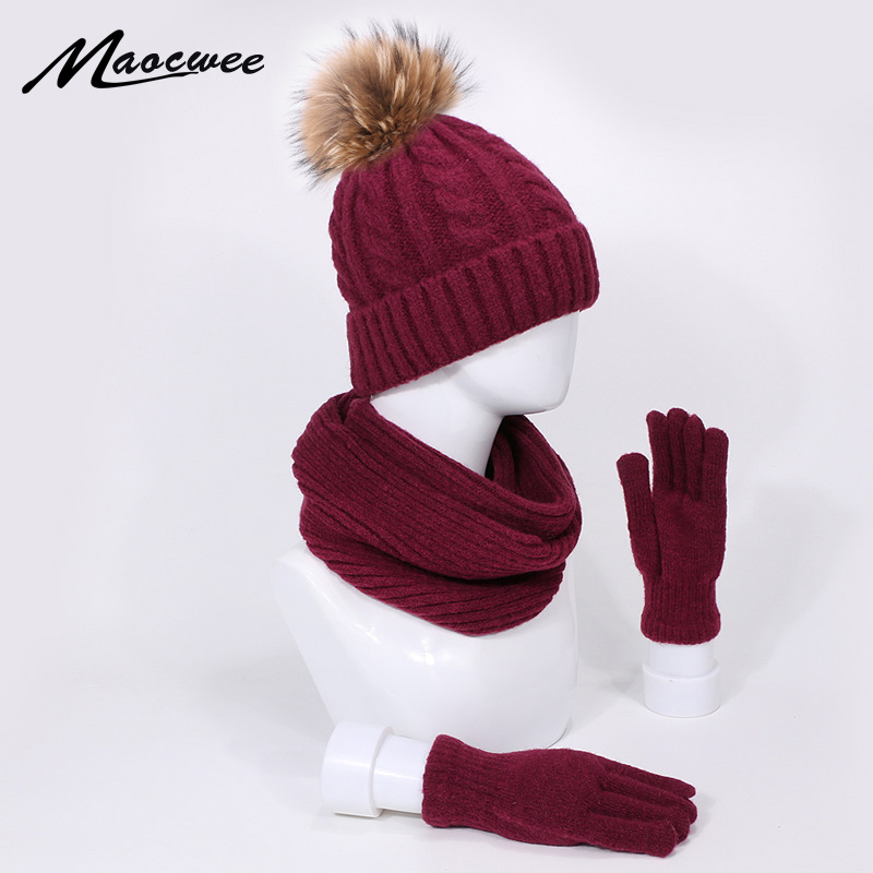 Real Fur Pompon Beanie Hats Scarves Gloves Three-Piece Set Men Women Winter Autumn Warm Outdoor Beanie Hat Thick Scarf Gloves Suit Windproo Pom Pom Hat Scarf Gloves Set Winter Outdoor Sports Warm Scarf Beanies Sets