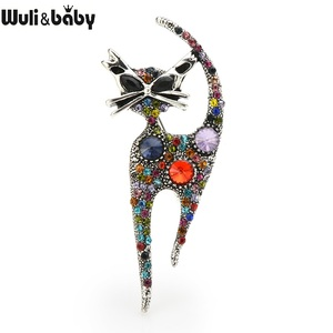Wuli&baby Vintage Rhinstone Cat Brooches For Women Metal Multi-color Cat Animl Casual Party Brooch Pins Gifts