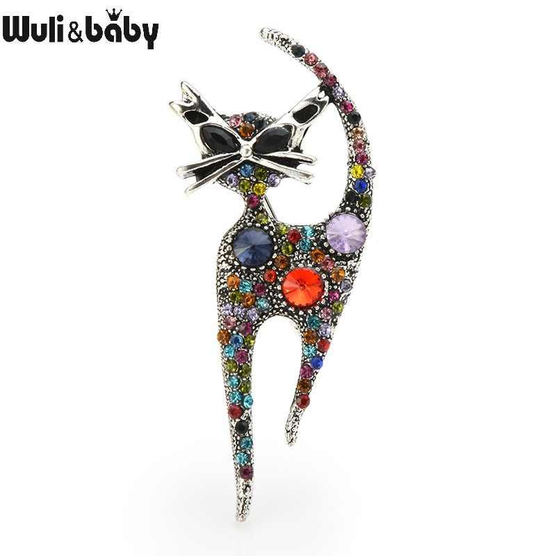 Wuli & del bambino Dell'annata Rhinstone Cat Spille Per Le Donne In Metallo Multi-colore del Gatto Animl Casual Partito Spilla Spilli Regali