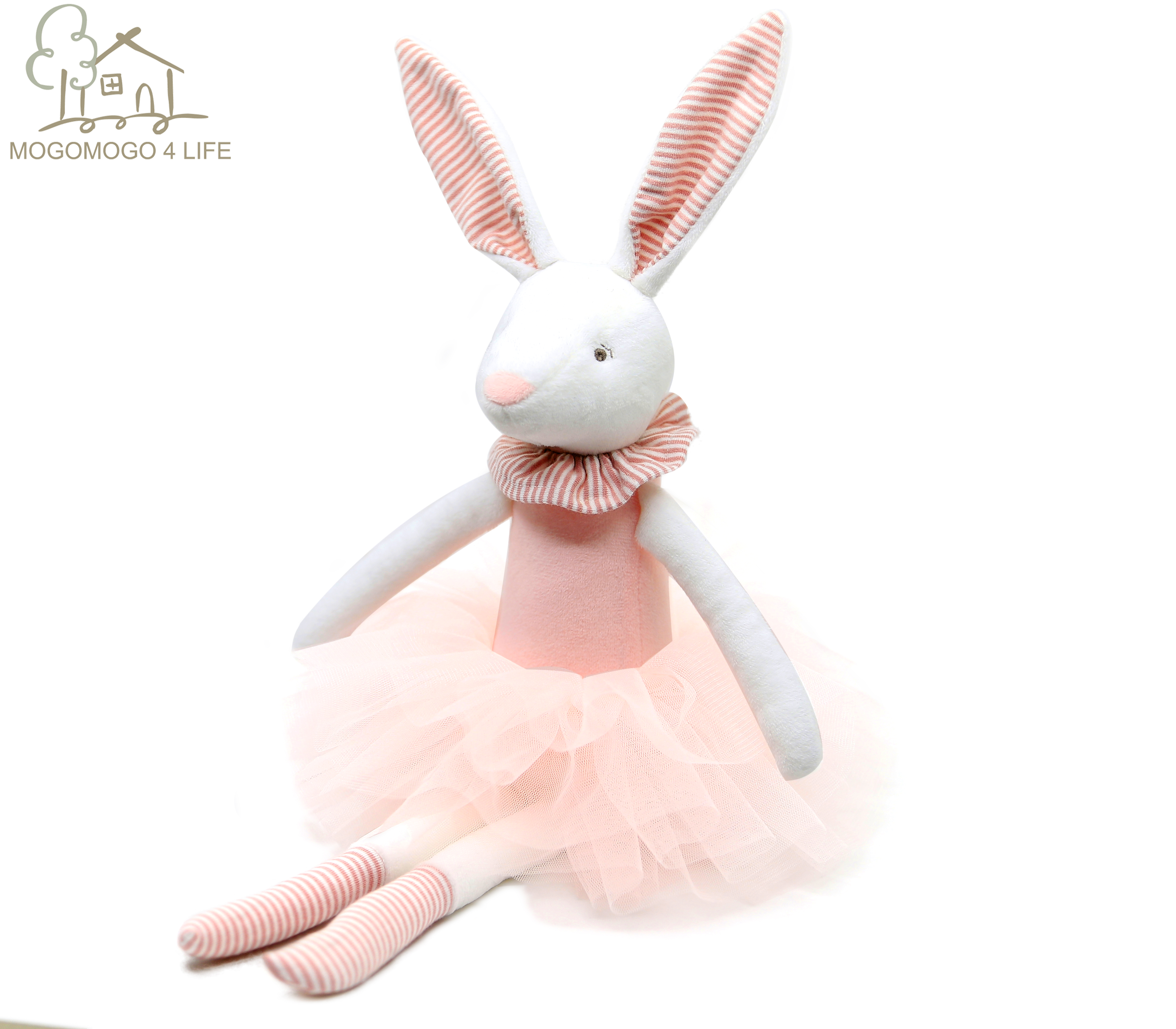 38cm Luxury Bunny Doll  Easter Gift Customized Soft Toys 100% Handmade Rabbit Stuffed Animal With Pink Skirt Plush Toys