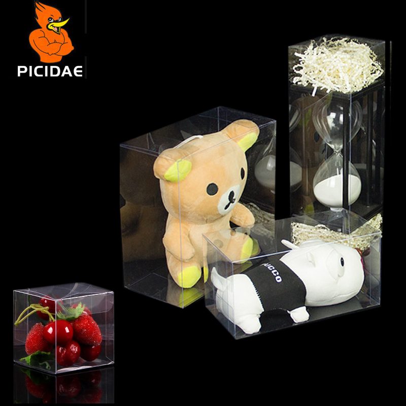 Pvc Transparent Gift Box Square Bottom Rectangle Display Plastic Packing Cookie Toy Baked Food Coffee Snack Candy Cosmetic Doll