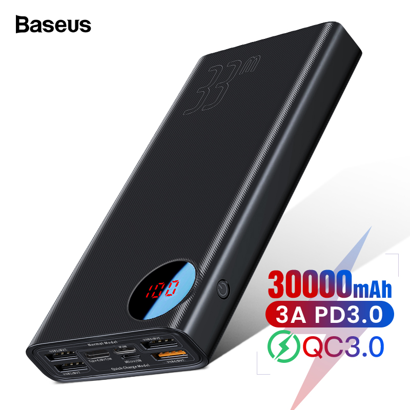 Baseus Quick Charge 3.0 30000mAh Power Bank Type C PD 30000 MAh Powerbank Portable External Battery Charger For IPhone Xiaomi Mi