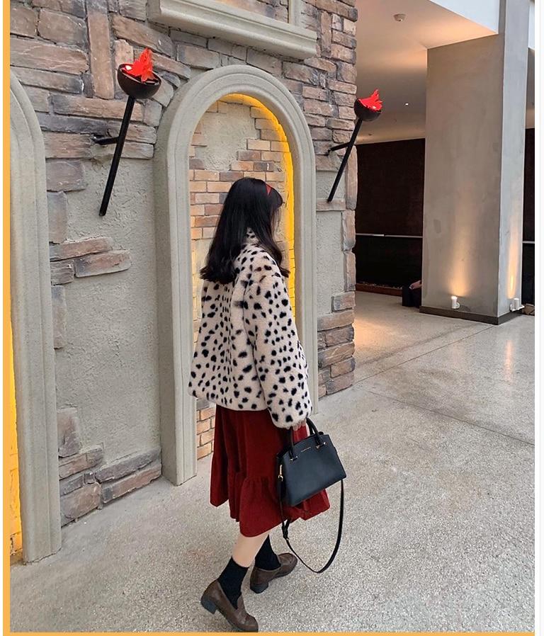 Ha8e6647bf7ba415380a65994e1a02bc6u Plush jacket women winter short 2021 new Korean version of loose lamb wool faux fur leopard print fur coat women winter