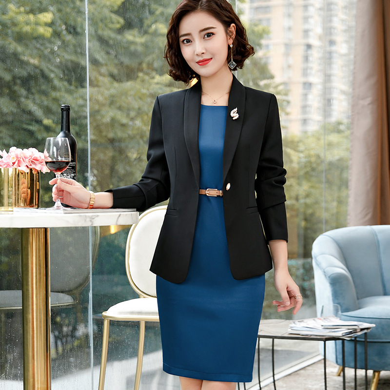 Yellow White business office Styles Blazers Suits With Blouses And Dress For Ladies Office Blazer Dress Sets Plus Size Elegant