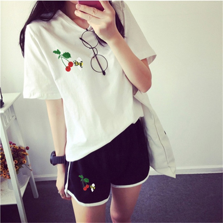 Fashion Spring And Summer Hong Kong Style New Style Shorts Running Sports Set Short Sleeve Cherry Best Friend-Hot Pants Two-Piec