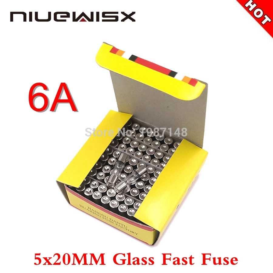 100 Pcs/Kotak 5*20 Mm Kaca Sekering 6A 250V Cepat Sekering 5*20 F6A 6000MA 250V kualitas Tinggi Fuse