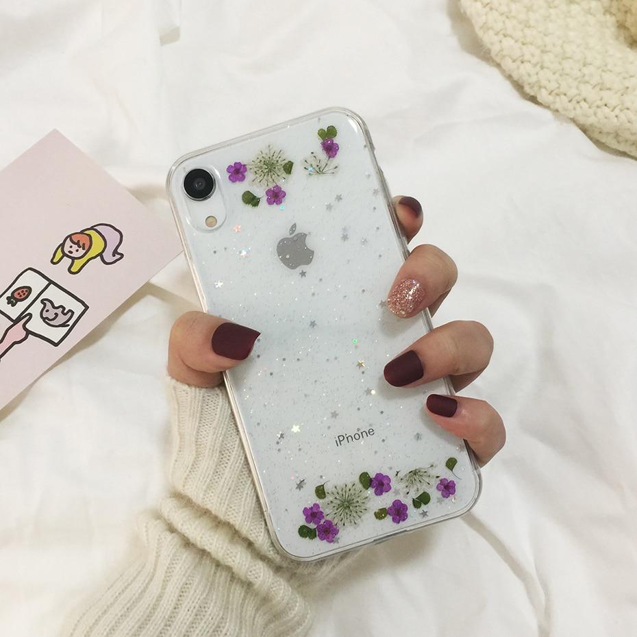 Qianliyao настоящие сушеные цветы прозрачный, мягкий чехол для iphone X 6 6S 7 8 Plus 11 Pro Max чехол для телефона для iphone XR XS Max чехол - Цвет: 6