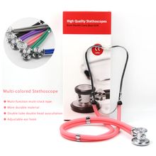 Professional Dual Headed Double Stethoscope Medical Portable High Quality Colorful Equipment Stethoscope Heart Lung Cardiology 1 set proffesional stethoscope medical equipment tensiometro diagnostic tool