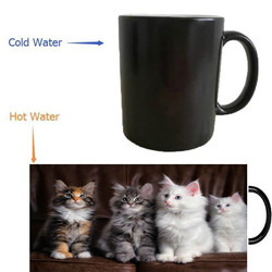 Cute Kittens Cats Fluffy Mugs Heat Reveal Travel Cold Hot Sensitive MilkTransforming Porcelain Tea Coffee Mugs