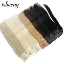 """Isheeny, бразильские человеческие волосы, Remy, конский хвост для наращивания, прямые, 1"""" 18"""" 2"""", человеческие волосы для наращивания на заколках"""