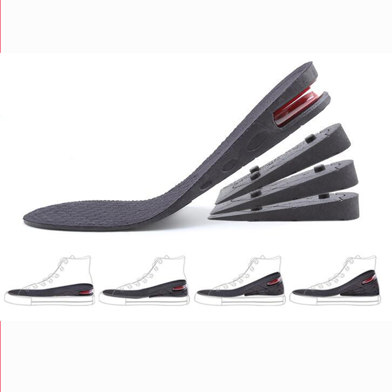 Unisex 3-7cm Height Increase PU Shoes Insoles Multi Layer Air Cushion Taller Heel Insert Height Lift Adjustable Cut Shoe Heel