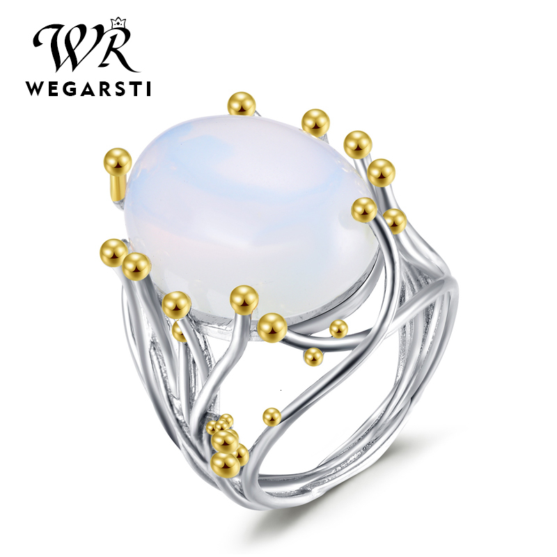 WEGARASTI Silver 925 Jewelry Ring Moonstone Trendy Party Classic 925 Sterling Silver Rings Jewelry Woman Engagement Gift